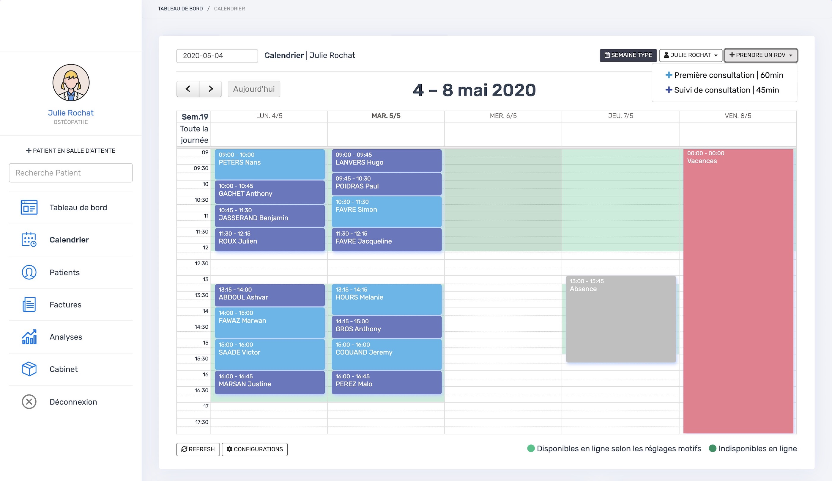 Le calendrier | PERF'PSYCHO