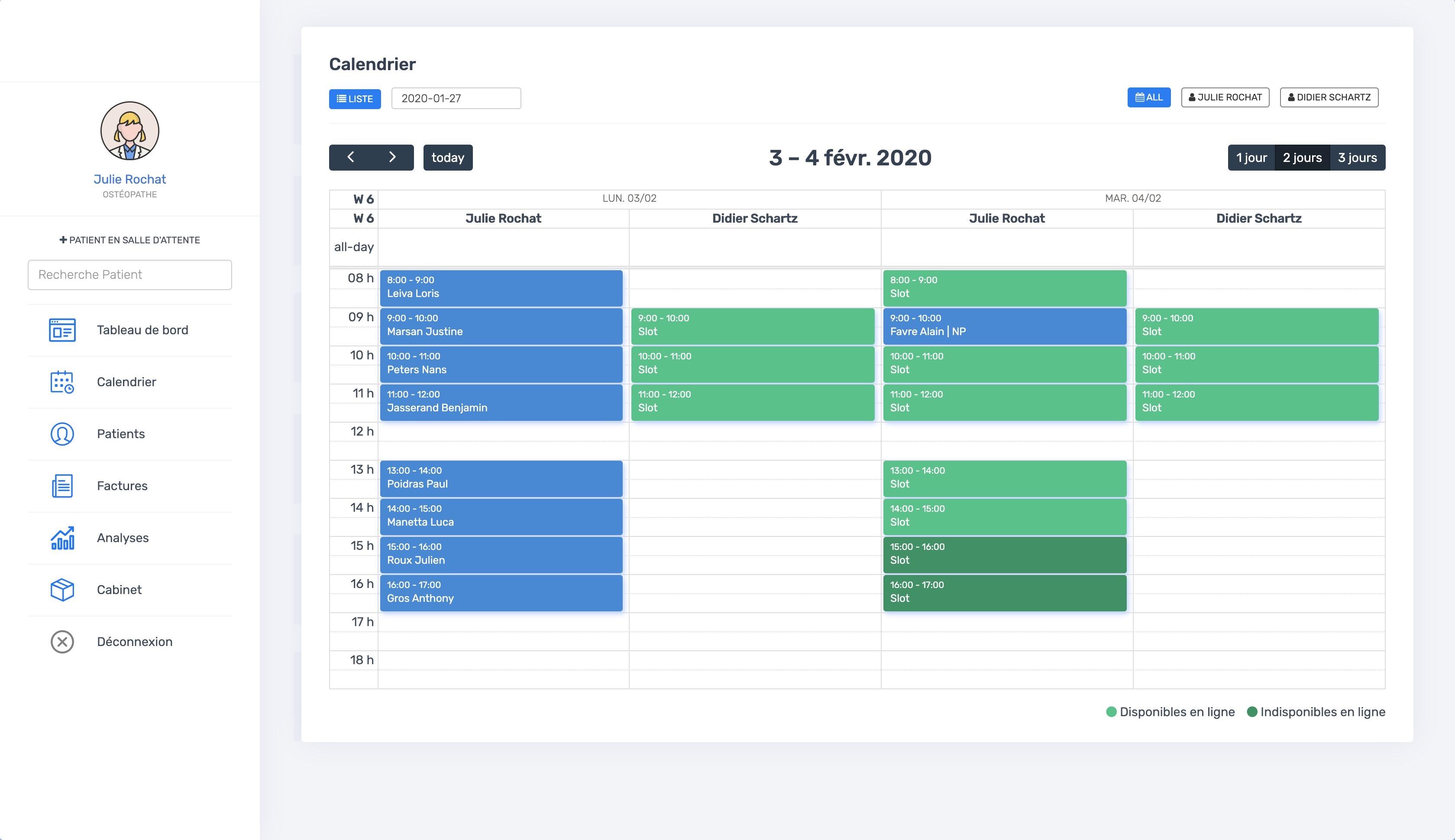 La vue du calendrier multi-thérapeutes | PERF'PSYCHO