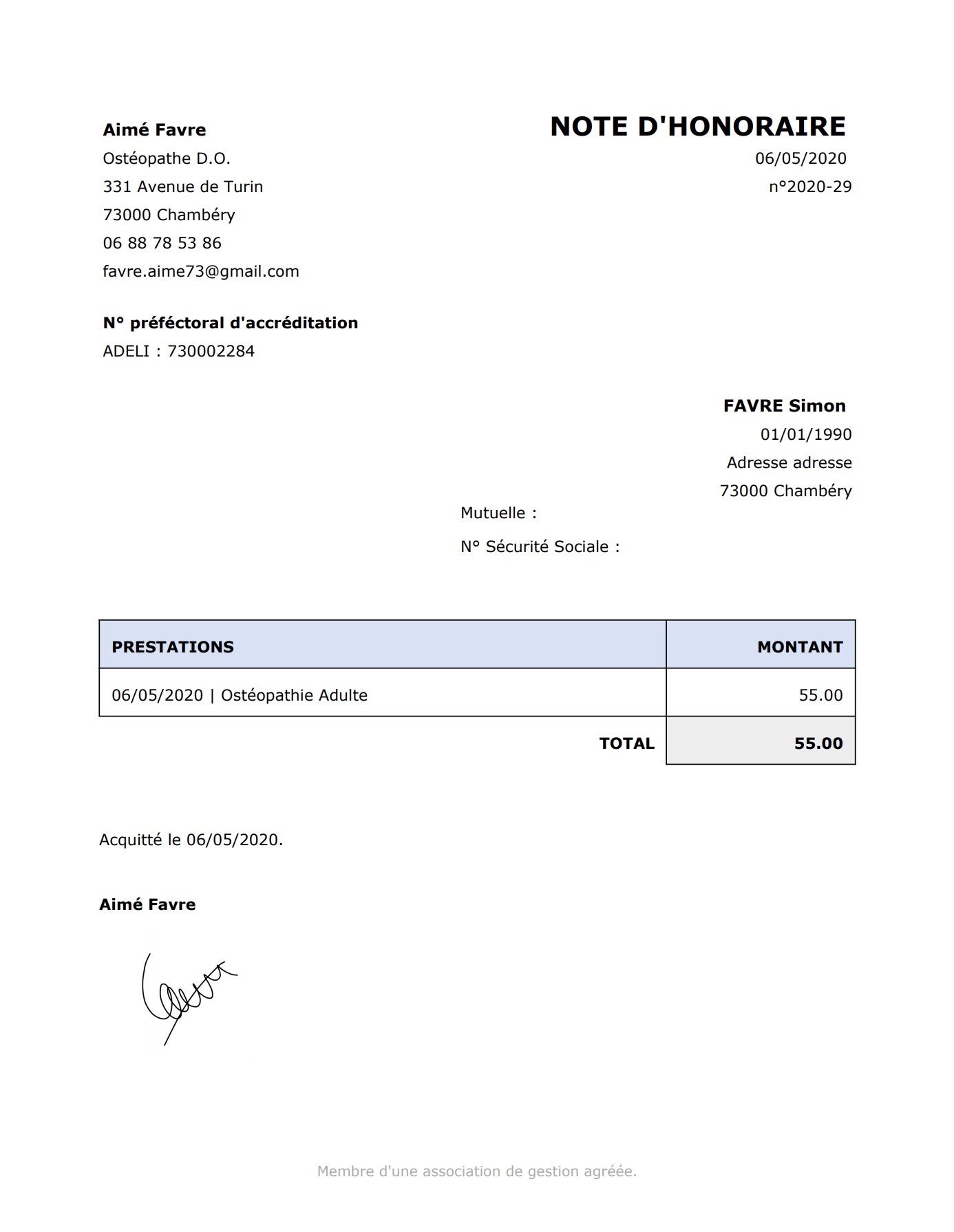 Génération de Document / Lettre | PERF'PSYCHO